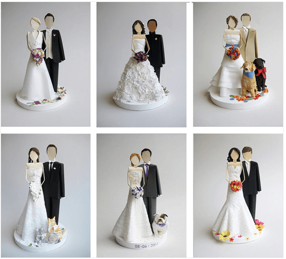 figurines wedding cake en papier